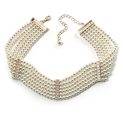 6-Strand Faux Pearl Bridal Diamante Choker Necklace (Silver Plated Metal) - main view