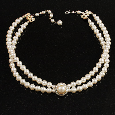 2 Strand Pearl Style Wedding Choker Necklace (Snow White, Silver Tone)