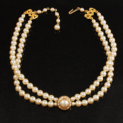 2 Strand Pearl Style Wedding Choker Necklace (Ivory, Gold Tone)