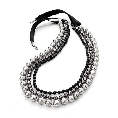 Long Modern Beaded Multi Strand Silk Cord Necklace (Black, Metallic, Silver) - 90cm Length