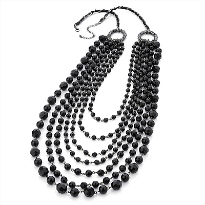 Long Modern Black Acrylic Multi Strand Necklace (Black Tone) - 100cm Length - main view