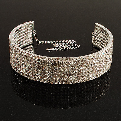 8-Row Swarovski Crystal Choker Necklace (Silver&Clear)