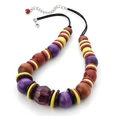 Multi Coloured Wood & Acrylic Bead Cord Necklace (Silver Tone) - 40cm Length