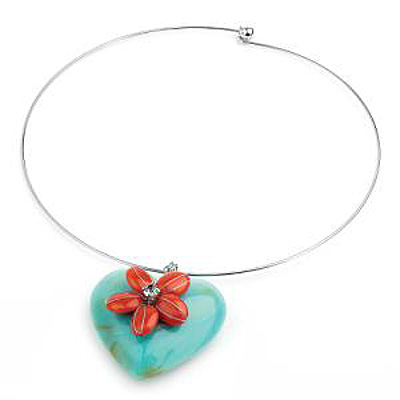 Aqua Puffed Heart Choker Necklace (Silver Tone)
