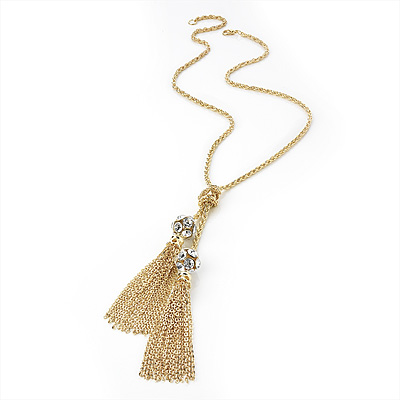 Long Crystal Tassel Necklace (Gold Tone) - 70cm Length