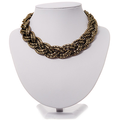 Chic Braided Choker Necklace (Bronze Tone) - 36cm Length