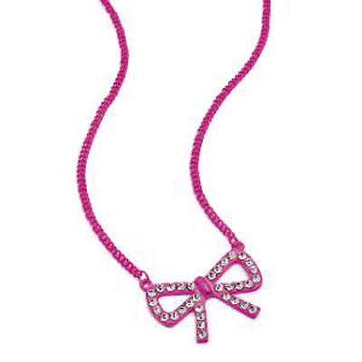 Neon Pink Crystal Bow Necklace - 38cm Length