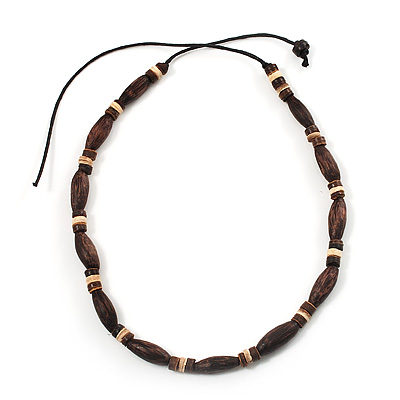 Unisex Brown Wood Bead Necklace - 40cm Length