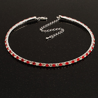 Thin Swarovski Crystal Choker Necklace (Clear &amp; Hot Red)