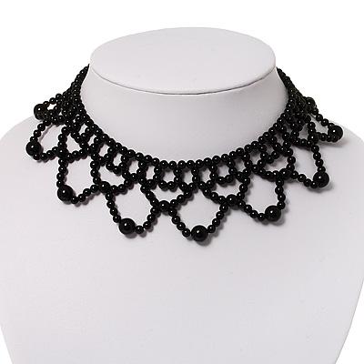 Black Acrylic Bead Flex Frill Choker
