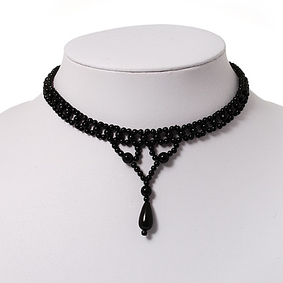 Black Acrylic Bead Flex Gothic Choker