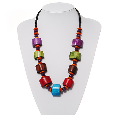 Multicoloured Chunky Wood Bead Cotton Cord Necklace - 56cm