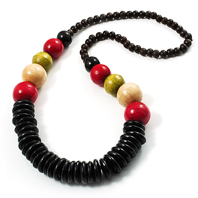 Long Multicoloured Chunky Wood Bead Necklace (Black, Brown, Olive &amp; Red) - 76cm length