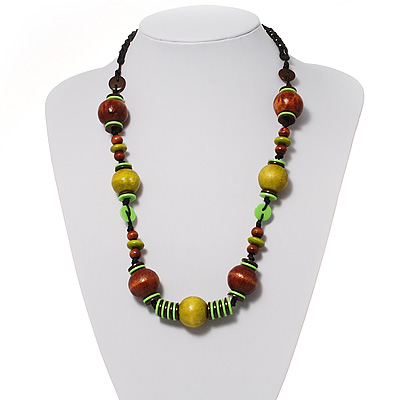 Olive Green &amp; Brown Wood Bead Cord Necklace - 56cm