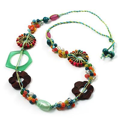 Multicoloured Floral Bead Cotton Cord Long Necklace -  70cm L