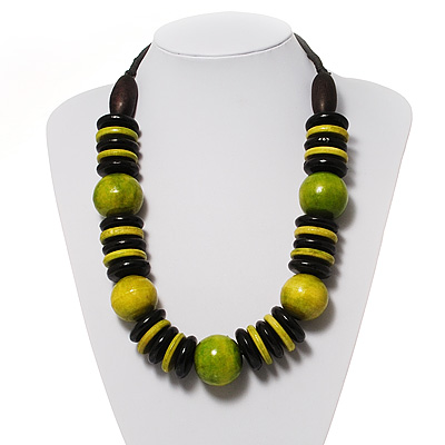 Chunky Beaded Cotton Cord Necklace (Light Green, Olive & Black)