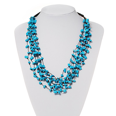 Turquoise Bead Multistrand Cotton Cord Necklace