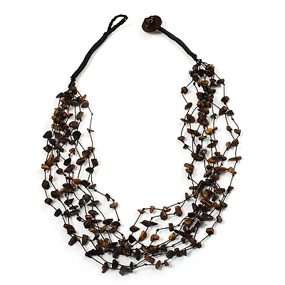 Brown Nugget Multistrand Cotton Cord Necklace