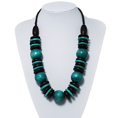Chunky Beaded Cotton Cord Necklace (Black &amp; Teal)