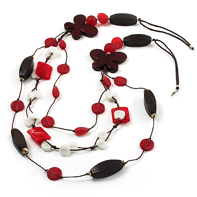 3-Strand Butterfly Cord Necklace (Red, Burgundy, White &amp; Brown) - 90cm