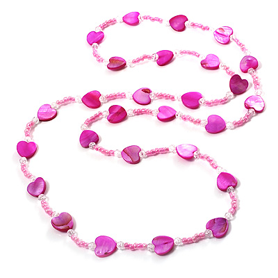 Bright Pink Heart Shell & Bead Long Necklace -100cm Length - main view
