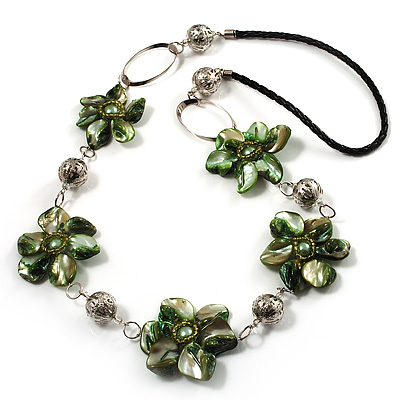 Green Shell Floral Leather Cord Long Necklace -78cm Length