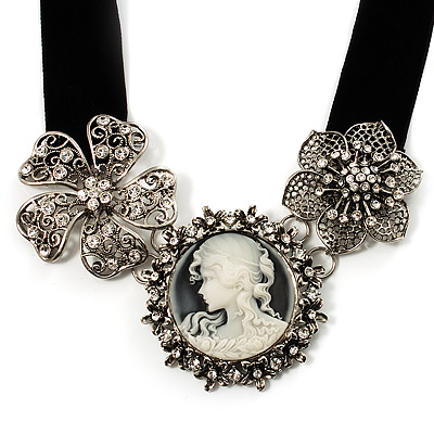 Stunning Diamante Cameo Black Velour Ribbon Necklace (Silver Tone)