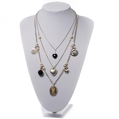 Silver Multistrand Cameo Necklace - 64cm Length
