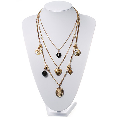 Gold Multistrand Cameo Necklace - 64cm Length