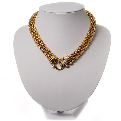 Gold Tone Mesh 'Buckle' Choker Necklace