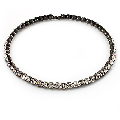 Gun Metal Clear Austrian Flex Choker Necklace