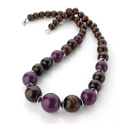 Long Chunky Brown &amp; Purple Wood Bead Necklace - 60cm Length