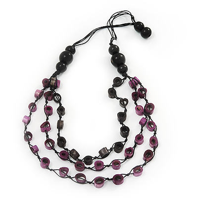 Long Multistrand Purple/Black Wood Bead Cotton Cord Necklace - 80cm Length