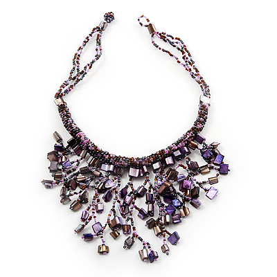 Purple Shell-Composite Bib Necklace - 34cm Length