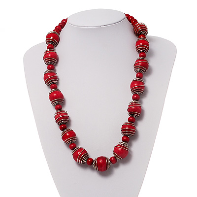 Bright Red Wood Necklace - 56cm Length
