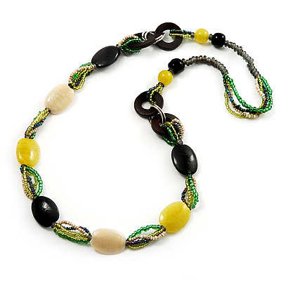 Long Ceramic, Wood &amp; Glass Bead Necklace (Brown, Cream &amp; Olive Green) - 76cm Length