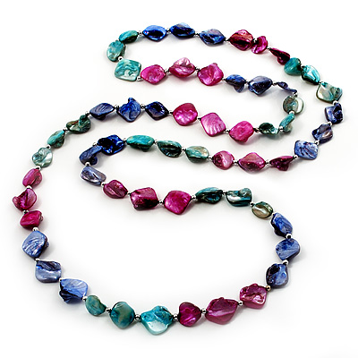 Long Multicoloured Shell Necklace -134cm Length