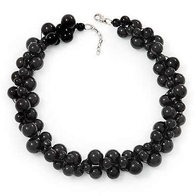 Black Polished Ceramic Bead Twisted Choker Necklace (40cm Length With 3cm Extension)
