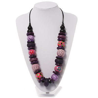 Chunky Purple Wood Beaded Cotton Cord Necklace - 70cm Length