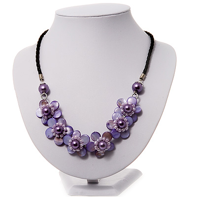 Lavender Floral Shell Leather Style Cord Necklace - 44cm Length - main view