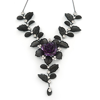 Avalaya Leaf Green 'Summer Shapes' Necklace & Drop Earrings Set In Matte Silver Plating - 40cm Length/7cm Extension jqnDQ