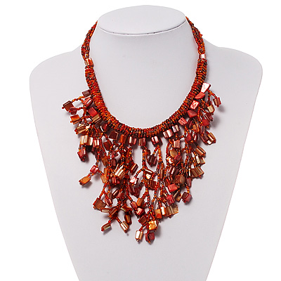 Coral Shell-Composite Bib Necklace - 34cm Length