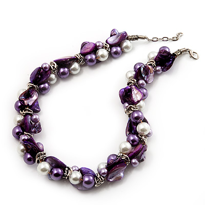 Exquisite Faux Pearl & Shell Composite Silver Tone Link Necklace (Purple & White)