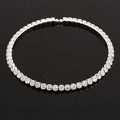 Silver Plated Clear Austrian Flex Choker Necklace
