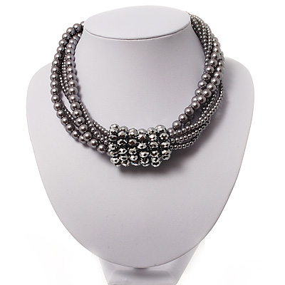 6-Row Light Grey Pearl Style Chunky Choker Necklace