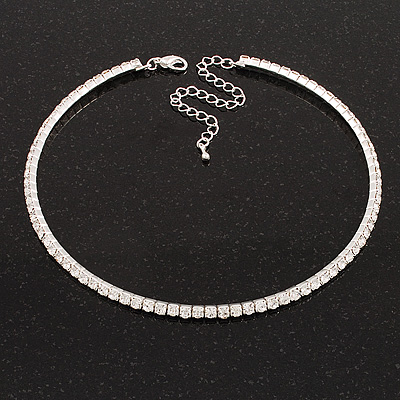 Thin Clear Austrian Crystal Choker Necklace (Silver Plated)