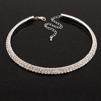 2-Row Swarovski Crystal Choker Necklace (Silver Plated)