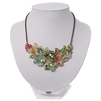 Stunning Pale Green Floral Acrylic Necklace In Bronze Tone Metal - 34cm Length - main view