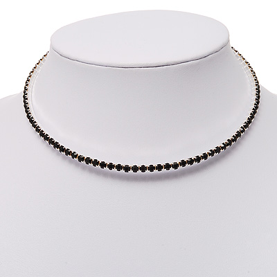 Thin Swarovski Crystal Choker Necklace (Jet Black)