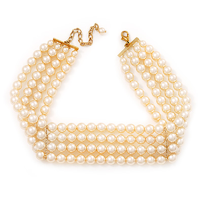 4-Strand Lustrous Pearl Glass Bead Choker Necklace (Gold Tone &amp; Ivory)